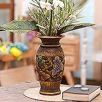 Decorative wood vase, 'Mystic Garden' - Decorative Hand Carved Wood Vase with Floral Motif