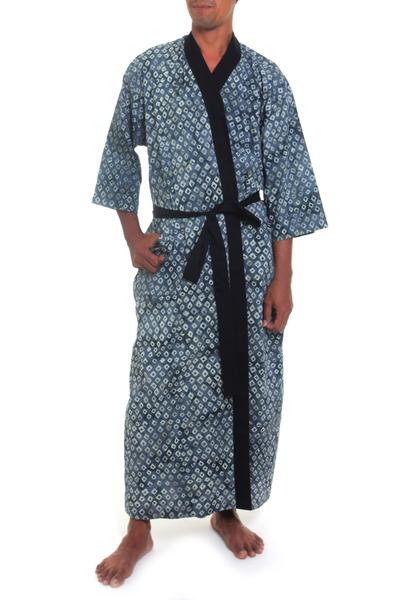 Men's cotton robe, 'Misty Gray Blocks' - All-Cotton grey Patterned Men's Robe from Balinese Artisan