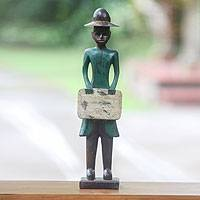 Wood sculpture, 'Colonial Doctor' - Rustic Colonial Era Balinese Doctor Wooden Sculpture
