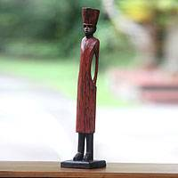 Wood sculpture, 'Arabian Merchant' - Artisan Hand Carved Wood Sculpture of Arabian Merchant
