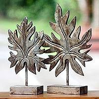 Gilt on wood sculpture, 'Silver Papaya Leaves' (pair) - Silver Gilt on Wood Vintage Style Leaf Sculptures (Pair)
