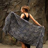 Rayon shawl, 'Borneo Slate' - Black and Gray Woven Rayon Shawl from Bali Artisan