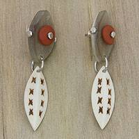 Horn and bone dangle earrings, 'Mahakam Canoe' - Unusual Bone and Horn Dangle Earrings from Bali