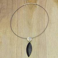 Bone and horn pendant necklace, 'Classic Comb' - Contemporary Artisan Bone and Horn Pendant Necklace