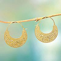 Gold vermeil hoop earrings, 'Garden of Eden'
