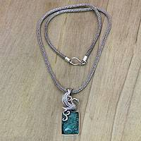 Sterling silver pendant necklace, 'Flying Swan' - Sterling Silver and Reconstituted Turquoise Swan Necklace