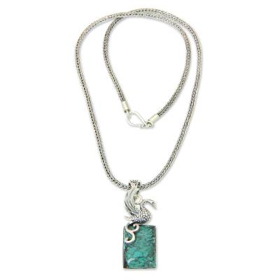 Sterling Silver and Reconstituted Turquoise Swan Necklace