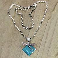 Sterling silver pendant necklace, 'Flying Dragonfly' - Silver Pendant Necklace with Reconstituted Turquoise