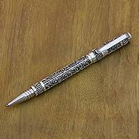 Sterling silver ballpoint pen, 'Alas Kedaton' - Unique Sterling Silver 925 Ballpoint Pen with Cartridge