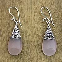 Rose quartz and amethyst dangle earrings, 'Bali Snowcap' - Handmade Rose Quartz and Amethyst Dangle Earrings
