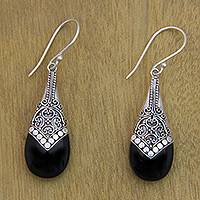 Onyx dangle earrings, 'Puncak Jaya in Black' - Ornate Silver 925 and Onyx Dangle Earrings from Bali