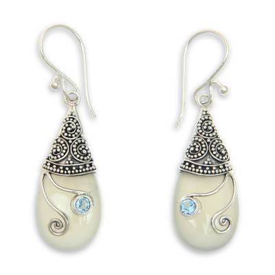 Chalcedony, Blue Topaz and Sterling Silver 925 Earrings