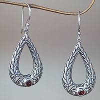 Garnet dangle earrings, 'Nature's Harvest' - Sterling Silver 925 and Garnet Rice Motif Dangle Earrings