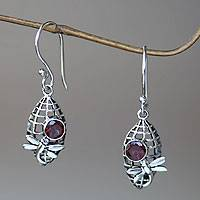 Garnet dangle earrings, 'Kintamani Dragonfly in Crimson' - Silver Dragonfly Earrings with 1 Carat Garnet Accents
