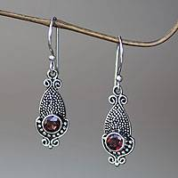 Garnet dangle earrings, 'Crimson Cephalopod' - Unique Squid Shaped Sterling Silver Earrings with Garnets