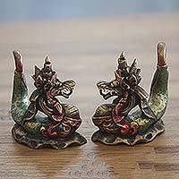 Wood statuettes, 'Twin Dragons' (pair) - Handmade Carved Wooden Dragon Statuettes (pair)