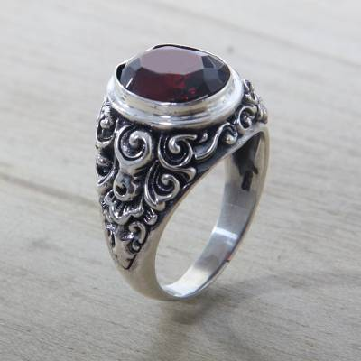 silver ring id skyrim cheats - Balinese Handcrafted Garnet and 925 Silver Cocktail Ring