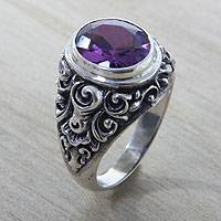 Amethyst cocktail ring, 'Kuta Twilight' - Ornate Women's Cocktail Ring in 925 Silver with Amethyst