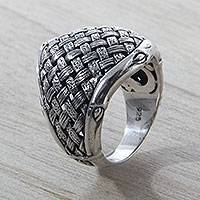 Sterling silver cocktail ring, 'Jungle Bamboo' - Fair Trade Sterling Silver Ring with Woven Bamboo Look