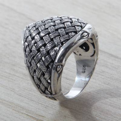 Fair Trade Sterling Silver Ring with Woven Bamboo Look