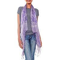 Silk batik scarf, 'Melati Ungu' - Purple Jasmine Javanese Batik on 100% Silk Chiffon Scarf