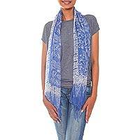 Silk batik scarf, 'Karimunjawa Blue' - Blue Sheer Silk Batik Scarf Crafted by Hand in Indonesia