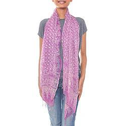 Silk batik scarf, 'Lavender Fish' - Sheer Lavender Silk Batik Scarf Crafted by Hand in Indonesia