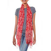 Silk batik scarf, 'Bunga Sutera' - Red Sheer Silk Batik Scarf Crafted by Hand in Indonesia