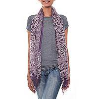 Silk batik scarf, 'Jasmine Twilight' - Floral Silk Batik Purple Scarf Crafted by Hand in Indonesia