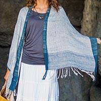 Cotton shawl, 'Sheer Denim Blue' - Balinese Handwoven Natural Dyes Sheer Cotton Shawl