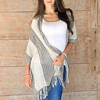 Cotton shawl, 'Sheer Khaki Tan' - Balinese Hand Woven Natural Dyes Sheer Cotton Shawl