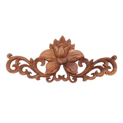 Wood relief panel, 'Single Lotus' - Suar Wood Balinese Lotus Relief Wall Sculpture