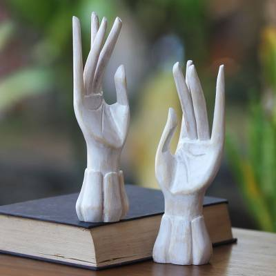 Wood jewelry holder, Fairy Hands (pair)