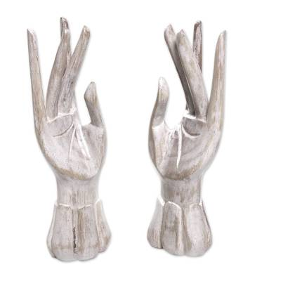 Wood jewelry holder, 'Fairy Hands' (pair) - White Ring Holder Hands Hand Carved of Wood (Pair)