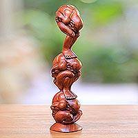Wood statuette, 'Three Level Yogi' - Wood statuette