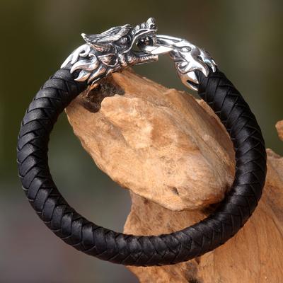 Men's leather and sterling silver bracelet, 'Dragon King' - Original Men's Black Leather and Silver Dragon Bracelet