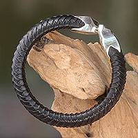 Leather and sterling silver cuff bracelet, 'Energy Flow' - Braided Black Leather and Sterling Silver Bracelet
