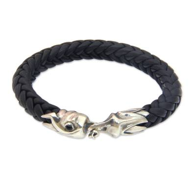 Braided Leather and Silver Bracelet for Men from Bali