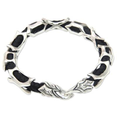 Sterling Silver and Braided Black Leather Men