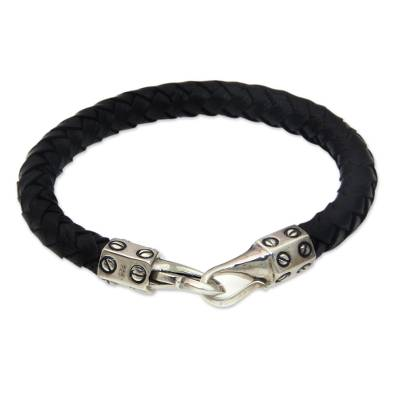 Handcrafted Black Leather and Silver Women