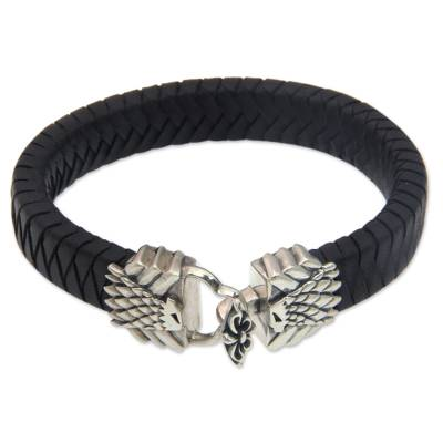Artisan Crafted Leather and Silver Eagle Bracelet