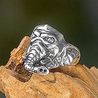 Men's sterling silver ring, 'Fierce Elephant' - Handmade Men's Sterling Silver 925 Elephant Ring