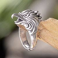 Mens sterling silver ring, Eagle of Courage