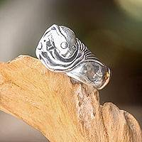 Men's sterling silver ring, 'Harmonious Balance' - Unique Men's Yin Yang Fish Ring in 925 Sterling Silver