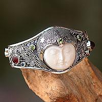 Peridot and carnelian cuff bracelet,
