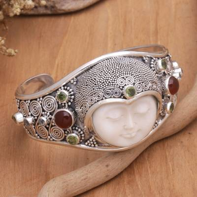 Peridot and carnelian cuff bracelet, 'Moon Empress' - Hand Carved Bone, Silver, and Gemstone Cuff Bracelet
