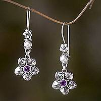 Amethyst and pearl dangle earrings,