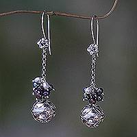 Cultured pearl and garnet dangle earrings, 'Bali Chime' - Fair Trade Chime Earrings in Sterling with Pearl and Garnet