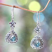 Blue topaz dangle earrings, 'Blue Plumeria' - Sterling Silver and 3 Carat Trillion Cut Blue Topaz Earrings