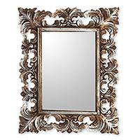 Wood wall mirror, 'Padma' - Hand Carved Wood Wall Mirror with Distressed Silver Finish